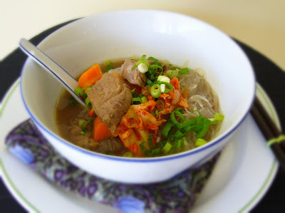 Beef Noodle Soup with Kimchi