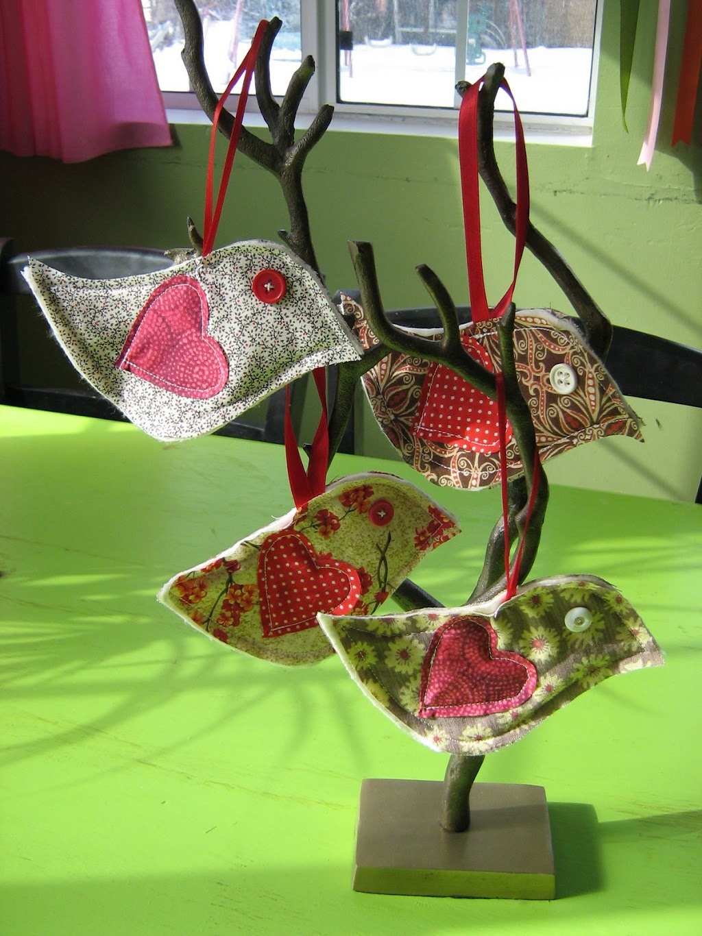 My new valentine birdy ornaments
