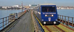 the Sir John Betjeman chugs along Southend Pier