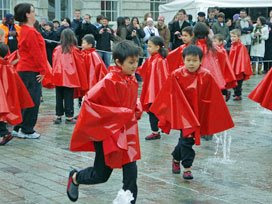 waterproof cape dancing in Somerset House