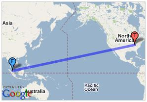 Distance From Malaysia To U S A 15 437km 9 592 Miles