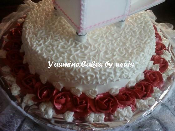 yasmine.cakes - by nenis: White & Maroon Wedding Cakes