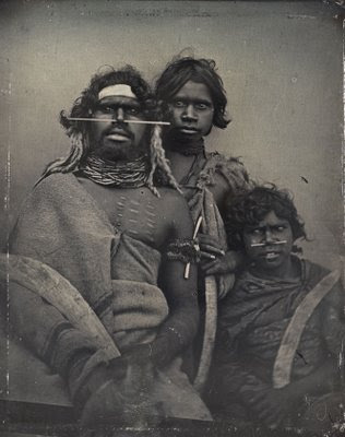 An 1847 daguerreotype of a south-east Australian Aboriginal and two younger companions. (NGA: Douglas T. Kilburn)