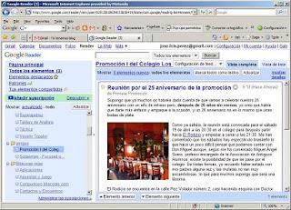 Google Reader del Colegio Los Olmos y la primera promoción