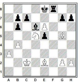 Posición de la partida de ajedrez Kvejnis - Mikenas (URSS, 1978)