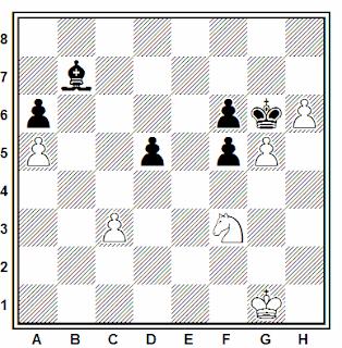 Posición de la partida de ajedrez Savizky - Rodionov (Moscú, 1988)
