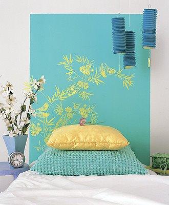 Pintar un cabecero para la cama for Paredes juveniles pintadas