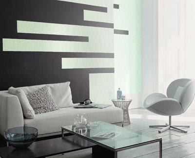 Decorando las paredes con pintura metalizada for Sofa gris como pintar las paredes