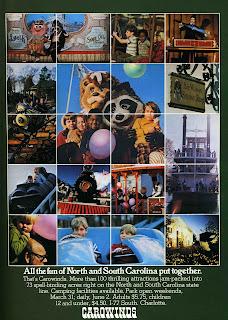 Charlotte Ads: Carowinds Amusement Park Spring 1973