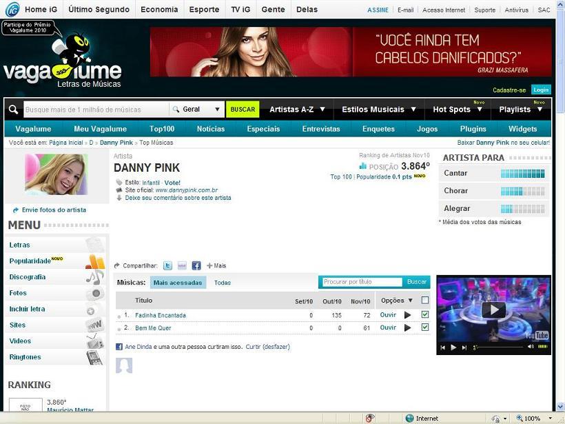 0516b667f4f Vagalume Danny Pink 21 letras de músicas