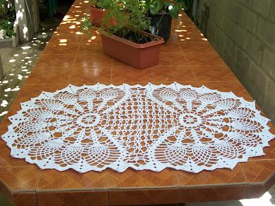 Mirtejidos artesanal centro de mesa ovalado - Centro de mesa a crochet ovalado ...