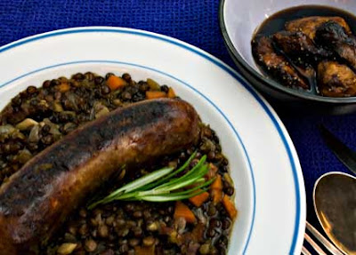 Sausages and Lentils with Spiced Figs