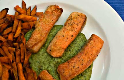 Spinach Skordalia with Salmon Fingers