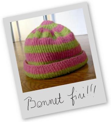 bonnet tricot fini