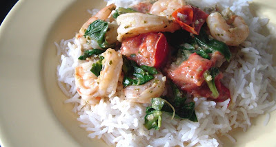 Green+Curry+4 Day 18: Thai Green Curry with Tomatoes, Spinach and Shrimp