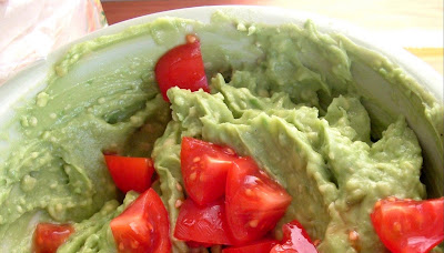 Guacamole+with+tomatoes Day 23: Black Bean Soup, Corn Tortilla Chips & Guacamole