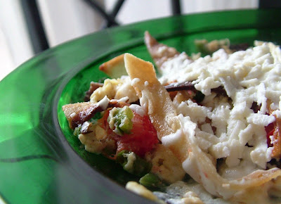 Cheesy+eggs+%26+tortillas Day 26: Spicy Scrambled Eggs with Crispy Corn Tortilla Strips