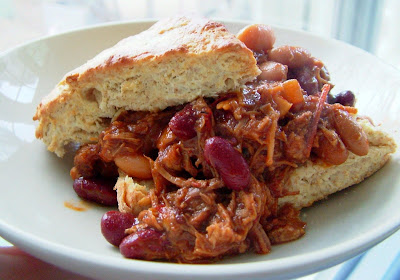 Pork,+beans+%26+biscuits Day 63: Chili Pulled Pork & Beans over Whole Wheat Olive Oil Biscuits