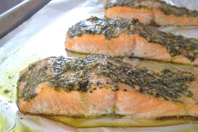 Pesto+salmon+2 Day 73: Roasted Salmon with Pesto