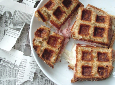 Waffled+Ham+%26+Cheese Day 96: Waffled Ham & Cheese and Pear, Apple & Almond Crumble