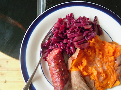 Braised+Cabbage Day 126: Grilled Farmers Sausage, Roasted Sweet Potato and Braised Red Cabbage