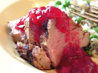 Rhubarb+pork Day 120: Grilled Pork Tenderloin with Cranberry Rhubarb Sauce