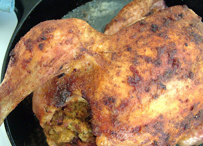 Falafel+Chicken+ +semi+close+up Day 130: Spice rubbed Roast Chicken stuffed with Falafel and Greek Salad