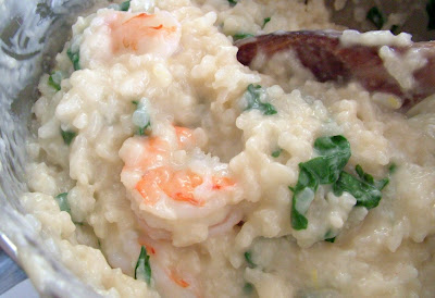 Risotto+ +add+spinach+and+shrimp Day 135: Shrimp and Spinach Risotto