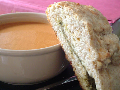 Tomato+soup+%26+scone Day 141: Roasted Tomato Soup and Pesto & Cheese Slab Scones