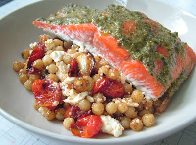 Salmon+%26+Israeli+Couscous Day 143: Pesto Salmon and Israeli Couscous with Tomatoes, Garlic and Feta