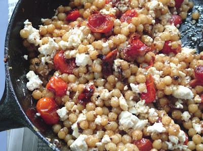 Israeli+couscous+2 Day 143: Pesto Salmon and Israeli Couscous with Tomatoes, Garlic and Feta