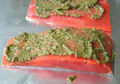 Pesto+Salmon+again Day 143: Pesto Salmon and Israeli Couscous with Tomatoes, Garlic and Feta
