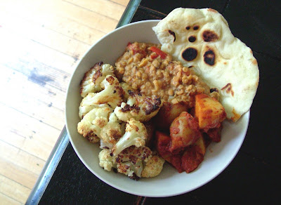 Curried+dinner Day 176: Daal Curry, Tomato Curried Potatoes, Roasted Cauliflower, and Naan