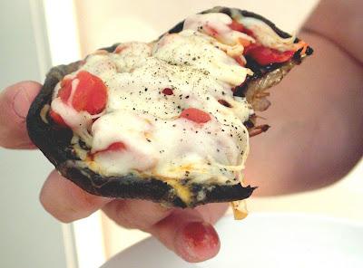 Portobello+pizza+in+Mike%27s+hand Day 180: Portobello Pizzas with Bruschetta