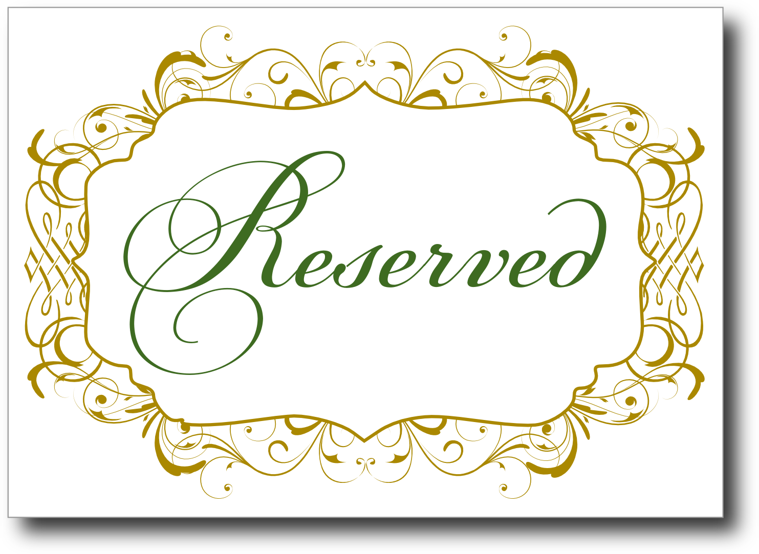Nice wedding reserved signs template gallery example for Table reservation card template