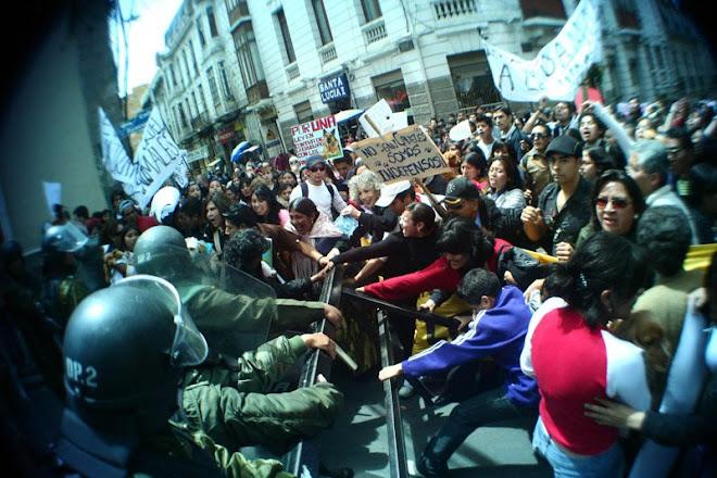 Protesta  contra los ponchos rojos  que degollaron  2 perros (Bolivia)