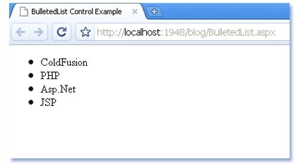 How to use BulletedList in asp net