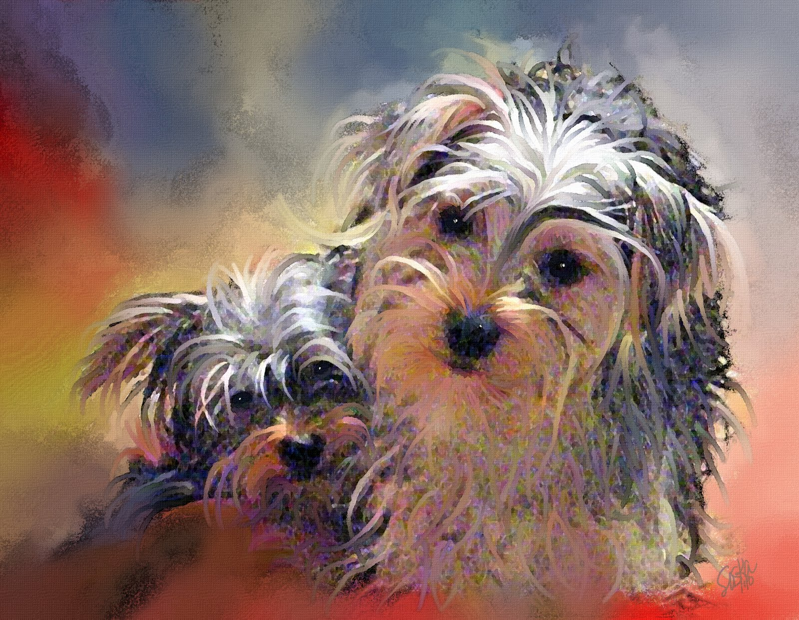 Paintings of artists original unusual art painting of for Painting of your dog