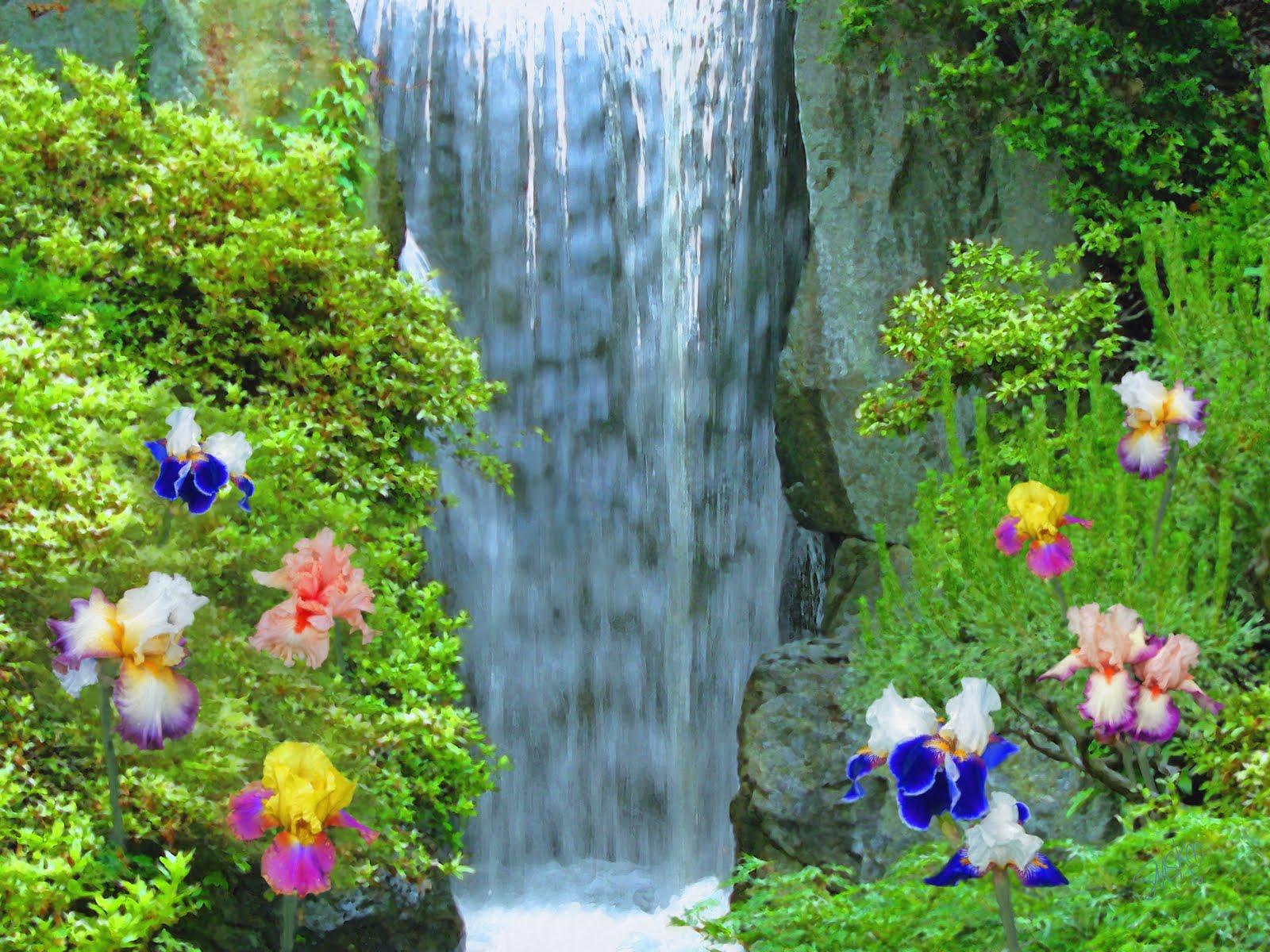 Paintings of artists original unusual art painting of waterfall painting of waterfall with iris flowers izmirmasajfo