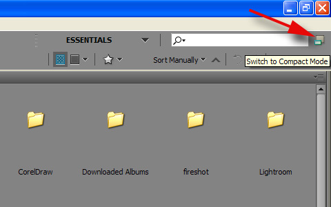 When Adobe Bridge window opens, click on Switch to Compact Mode icon