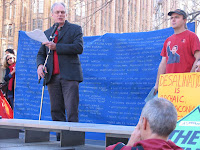 Author David Spratt speaks to rally