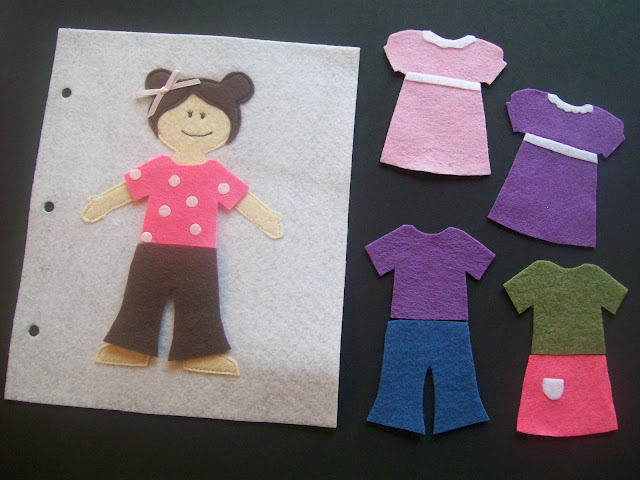 Homemade Quiet Book - Free Templates. Dress-up Doll Page.