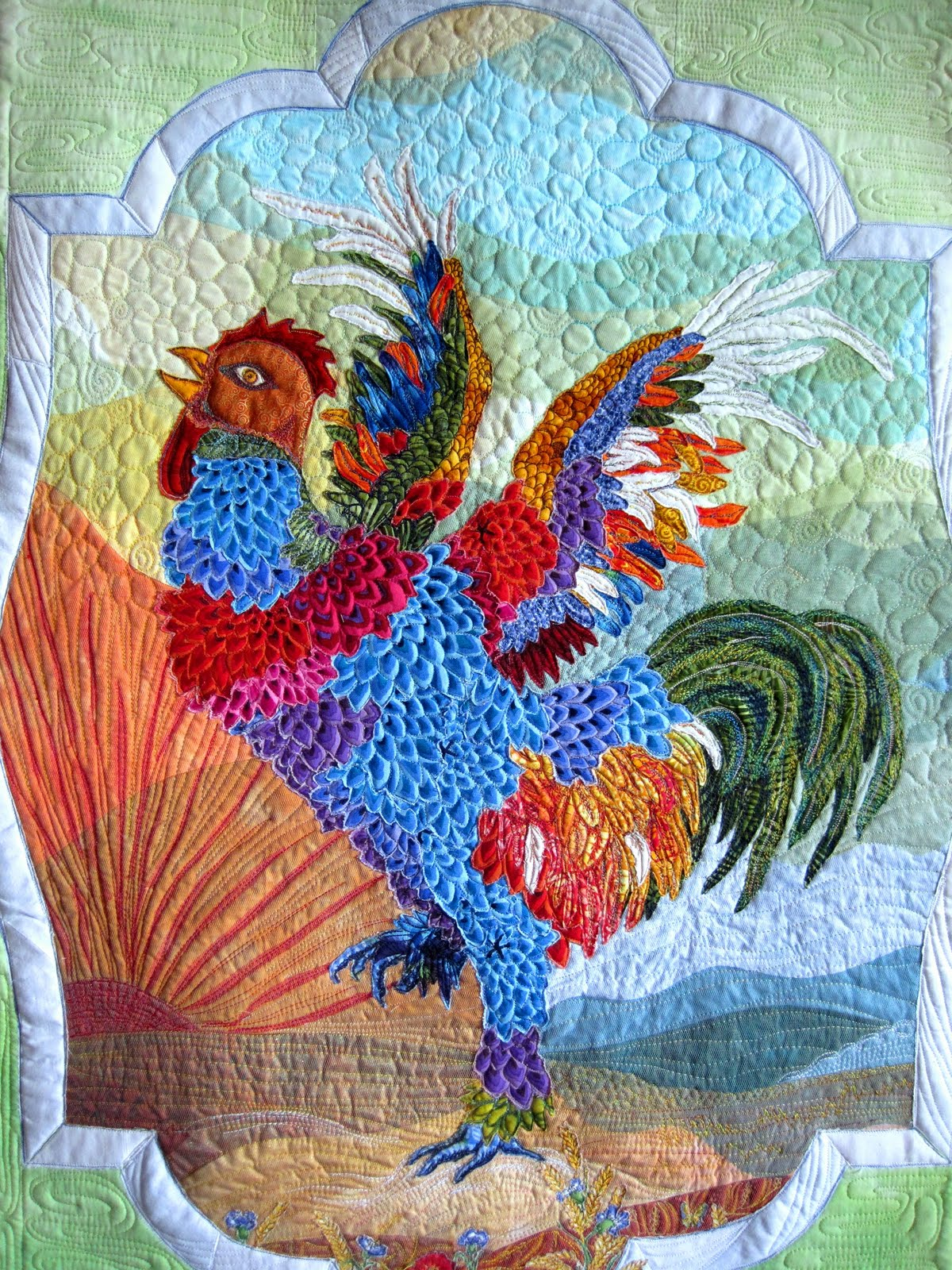 Quilts Grandkids And Delphiniums Rooster Quilt Finished
