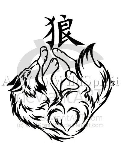 Japanese Symbol Alpha Wolf