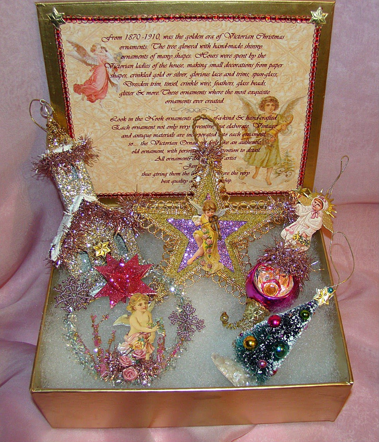 vintage pink victorian christmas ornament set