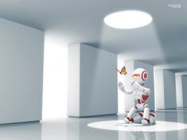 Imágen de un simpático robot 3D feliz por la entrada de una mariposa
