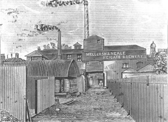 Engraving of Mellersh & Neale Reigate Brewery c1883