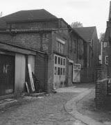 Derelict buildings shortly before demolition