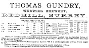 Advertisment of Thomas Gundry, Warwick Brewery, Redhill c1879