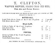 Advertisment of Thomas Clifton, Warwick Brewery c1858